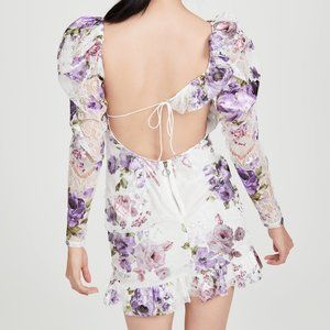 For Love & Lemons metallic foil floral mini dress